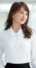 01170 en joie(アンジョア) ふんわりオーラの丸襟に優しい印象のリボン付き長袖ブラウス 93-01170
