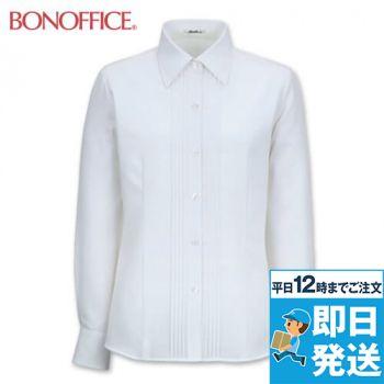 RB4140 BONMAX/リサール 知的な雰囲気を醸し出す胸元のピンタック 長袖ブラウス