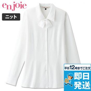 en joie(アンジョア) 01210 長袖ブラウス(リボン付)ブライトドットニット 93-01210