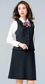 AS2307 BONMAX/トラッドパターン Aラインスカート 無地 36-AS2307