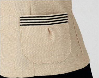 ボーダーデザインの両脇タックポケット