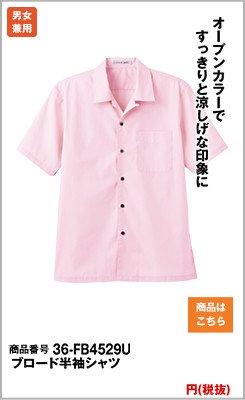 オープンカラーの半袖シャツ