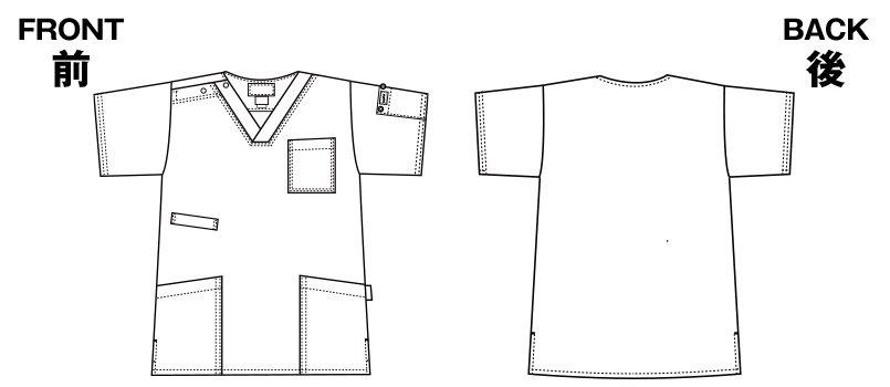 7033SC FOLK(フォーク)×Dickies スクラブ(男女兼用)のハンガーイラスト・線画