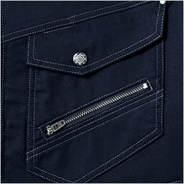 左胸ポケット デザインファスナー