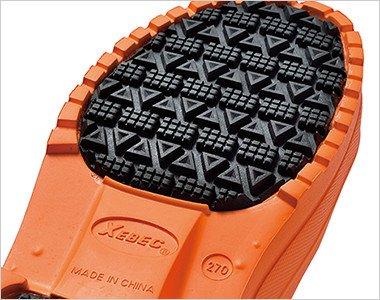 靴底の接地面には滑りにくいラバーを貼り合わせ、耐滑性・摩耗性を向上させています。