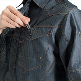 バートル 1515 ヘリンボーン&T/Cライトチノ長袖シャツ(男女兼用) ペンさし