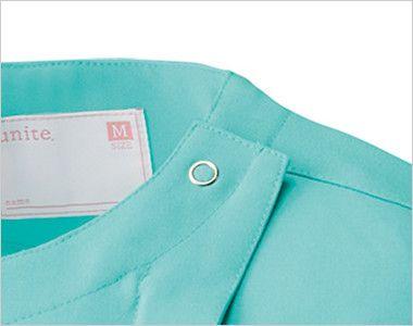 [在庫限り/返品交換不可]UN-0048 UNITE(ユナイト) 浅めVネック スクラブ(女性用) 着脱が便利なドットボタンとフロントファスナー