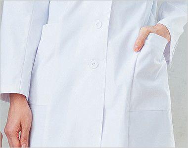 HI401 ワコール レディースドクターコート シングル(女性用) ポケット付き