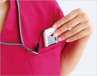 自重堂WHISEL WH11485 スクラブ(男女兼用) PHSポケットと分けて収納できるポケット