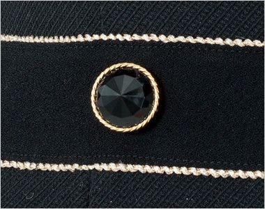en joie(アンジョア) 61650 シルエットが美しくゴールドがアクセントのワンピース(女性用) 無地×ラメ ゴールド縁のダイヤのようなきれいな黒ボタン