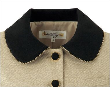 en joie(アンジョア) 81520 上品かわいいベージュ×黒の配色の好印象ジャケット 無地 ラウンドの大きな襟がアクセントに