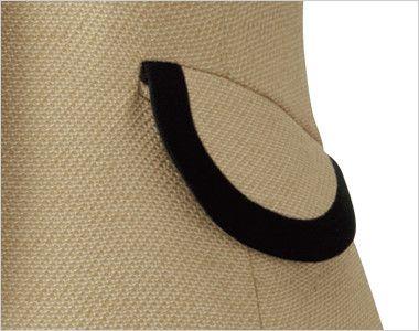 en joie(アンジョア) 81520 上品かわいいベージュ×黒の配色の好印象ジャケット 無地 丸くて可愛いフラップポケット