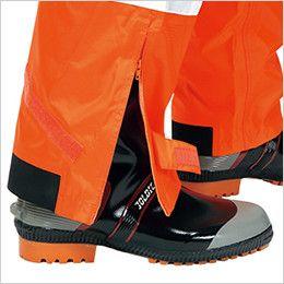 3810 カジメイク 視認性レインスーツ(男女兼用) 靴を履いたまま着脱が可能