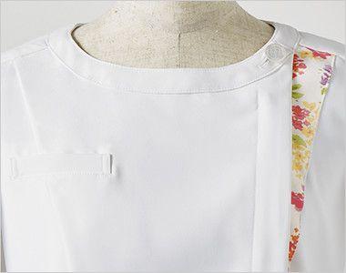 LW601 ローラ アシュレイ 半袖ナースジャケット(女性用) アシンメトリーの配色がアクセント