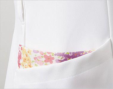LW601 ローラ アシュレイ 半袖ナースジャケット(女性用) ウエストループと配色が印象的なポケット