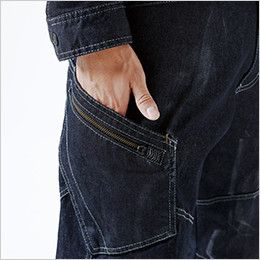 5114 TS DESIGN 綿100%ソフトチノクロス&ストレッチデニムカーゴパンツ(男性用) カーゴポケット仕様