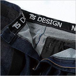 51141 TS DESIGN 綿100%ソフトチノクロス&ストレッチデニムカーゴパンツ(女性用) 帯裏デザイン