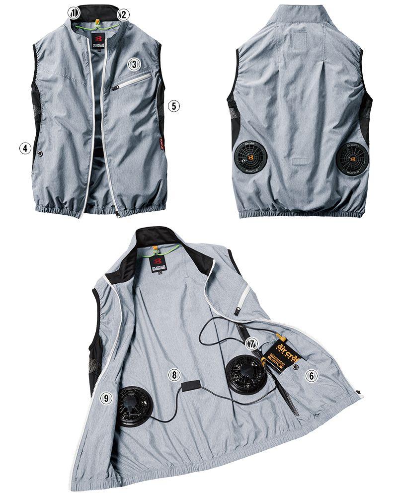 バートル AC1024 エアークラフト[空調服]迷彩ベスト(男女兼用) ポリ100% 商品詳細・こだわりPOINT