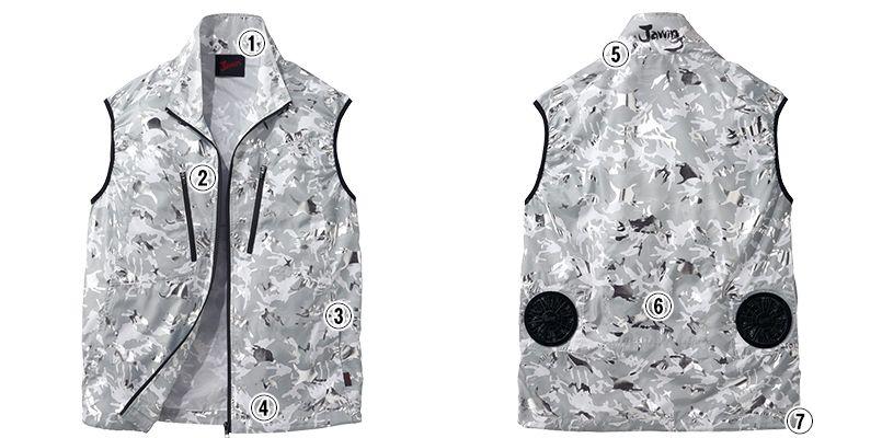 自重堂 54060 [春夏用]JAWIN 空調服 迷彩 ベスト ポリ100% 商品詳細・こだわりPOINT