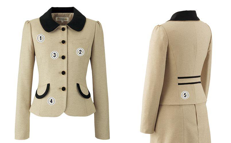 en joie(アンジョア) 81520 上品かわいいベージュ×黒の配色の好印象ジャケット 無地 商品詳細・こだわりPOINT