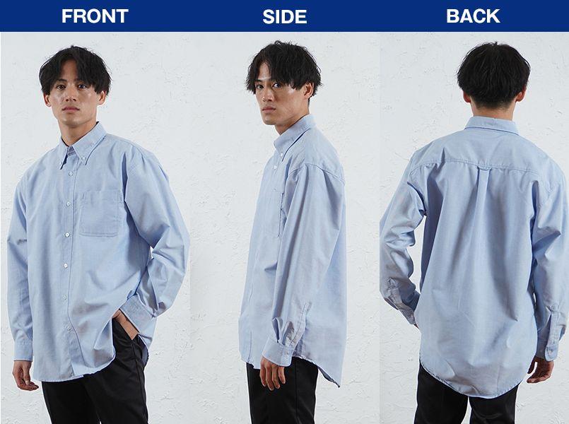 AZ7822 アイトス カナディアンクリーク 長袖T/Cオックスシャツ(男女兼用) モデル前後(メンズ)
