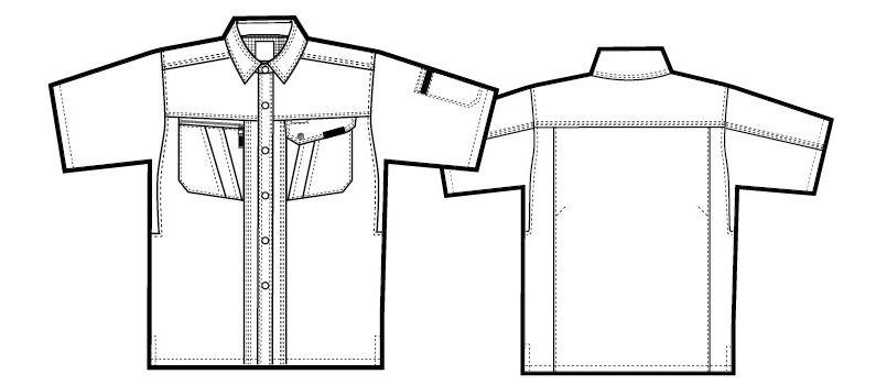 AZ1137 アイトス シャツ/半袖 ハンガーイラスト・線画