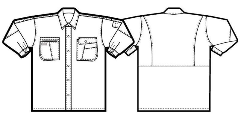 AZ5325 アイトス ムービンカット シャツ/長袖(薄地) ハンガーイラスト・線画