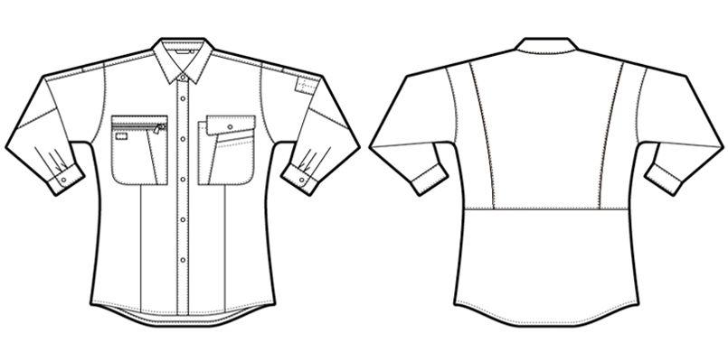 AZ5329 アイトス レディースムービンカット シャツ/長袖(薄地)(女性用) ハンガーイラスト・線画