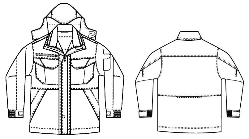 AZ8460 アイトス エコノミー防寒コート[フード付き・取り外し可能] ハンガーイラスト・線画