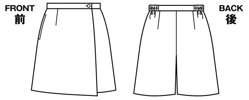 BONMAX AC3209 [通年]トリクシオンヘリンボーン キュロットスカート 無地 脇ゴム ハンガーイラスト・線画