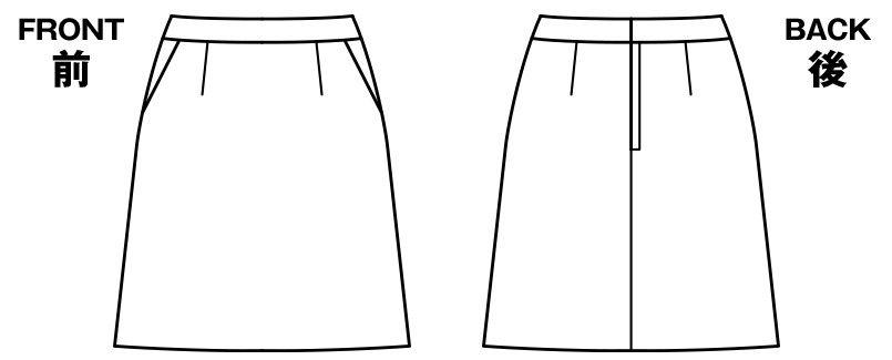 AS2280 BONMAX/インプレス Aラインスカート 無地 ハンガーイラスト・線画