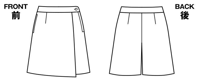 BONMAX LC3705 [春夏用]キュロット 無地 ケイティー エクロール 巻きスカート風 ハンガーイラスト・線画