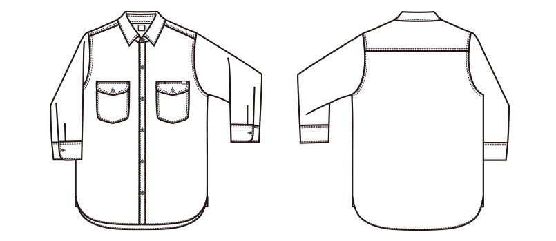 LCS43004 Lee シャンブレーシャツ/七分袖(女性用) ハンガーイラスト・線画