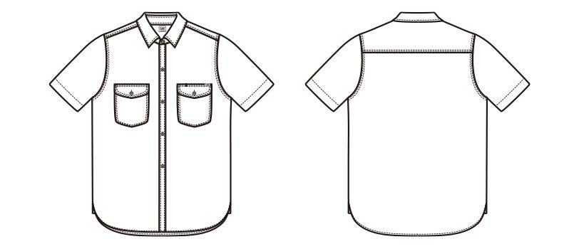 LCS46005 Lee シャンブレーシャツ/半袖(男性用) ハンガーイラスト・線画