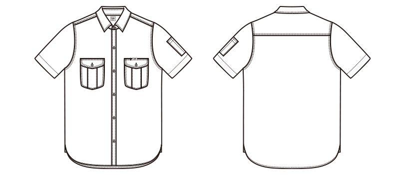 LWS43002 Lee ワーク半袖シャツ(女性用) ハンガーイラスト・線画