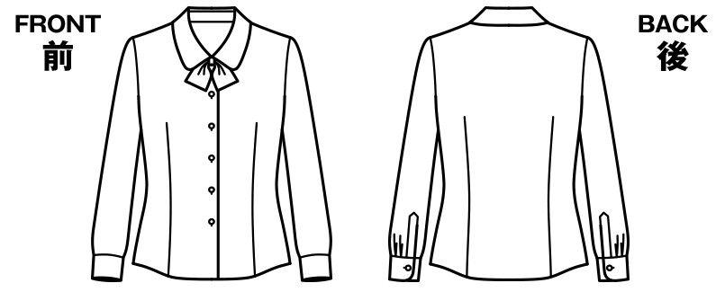 BONMAX RB4149 [通年]リサール繊細なダイヤ織りが美しい長袖ブラウス ハンガーイラスト・線画