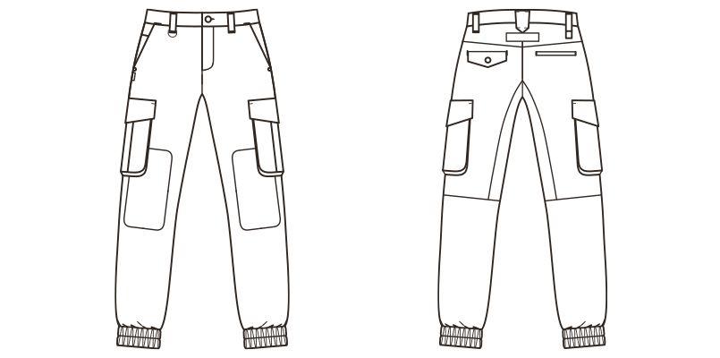 RP6907 ROCKY ジョガーカーゴパンツ コンビネーション(男女兼用) ハンガーイラスト・線画