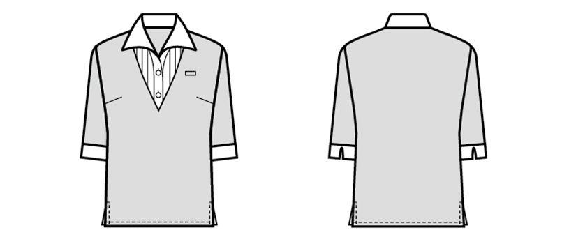 24217 BONUNI(ボストン商会) Tブラウス/五分袖(女性用) ハンガーイラスト・線画