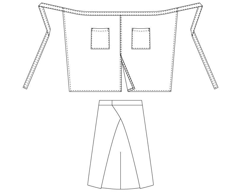 T-6879 チトセ(アルベ) ミドルエプロン(男女兼用) ハンガーイラスト・線画