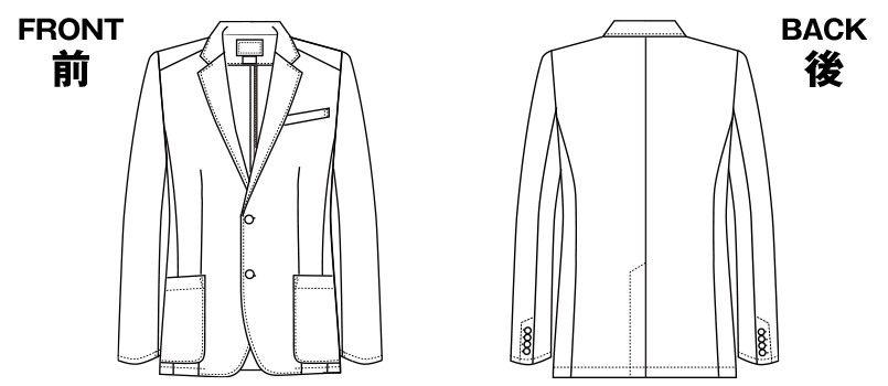 1011TW FOLK(フォーク) メンズブレザージャケット(男性用) ハンガーイラスト・線画