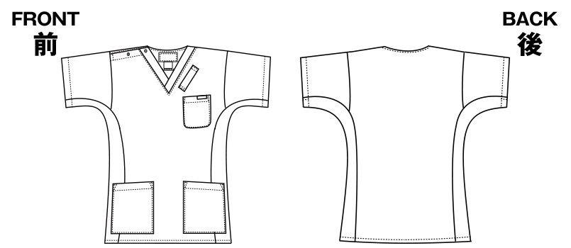 7013SC FOLK(フォーク) 国境なき医師団 スクラブ(男女兼用) ハンガーイラスト・線画