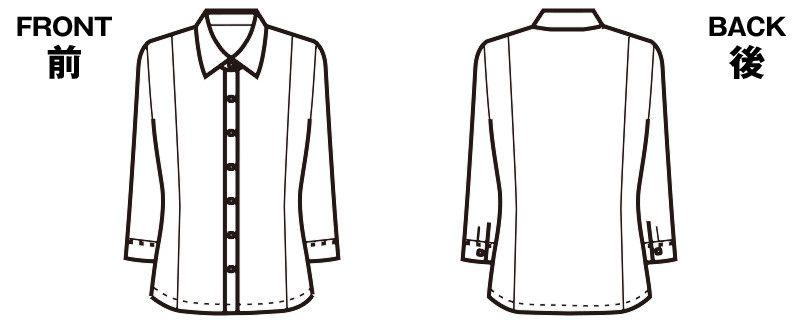 FB7097 nuovo(ヌーヴォ) 七分袖ブラウス FDミニダイヤ ハンガーイラスト・線画