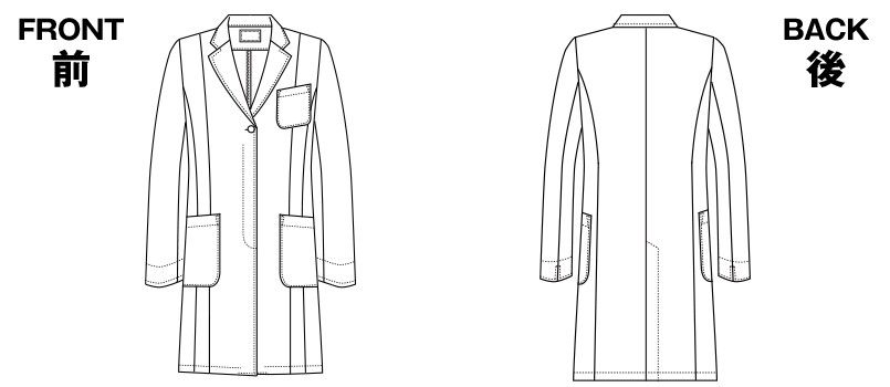 HI400 ワコール レディースドクターコート シングル(女性用) ハンガーイラスト・線画