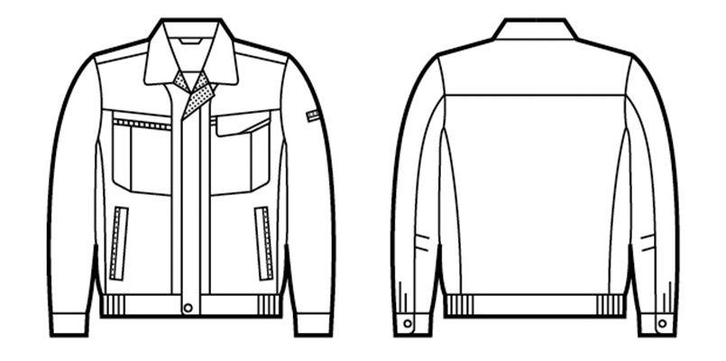47800 自重堂 エコ 5バリュー 長袖ブルゾン(JIS T8118適合) ハンガーイラスト・線画