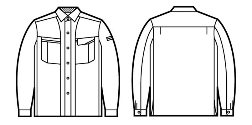 47804 自重堂 エコ 5バリュー長袖シャツ(JIS T8118適合) ハンガーイラスト・線画