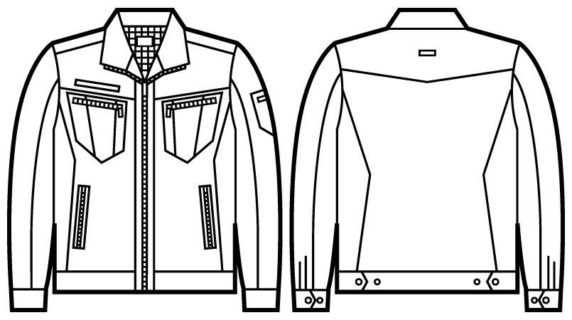 51800 自重堂JAWIN 長袖ジャンパー(新庄モデル) ハンガーイラスト・線画