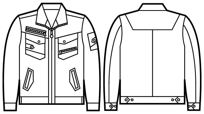 52100 自重堂JAWIN 長袖ジャンパー(新庄モデル) ハンガーイラスト・線画