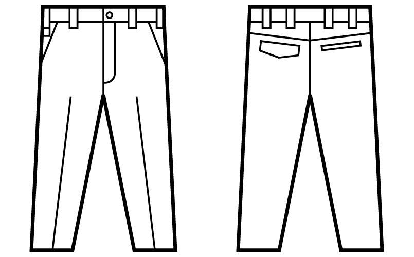 自重堂 52201 JAWIN ノータックパンツ(新庄モデル) ハンガーイラスト・線画