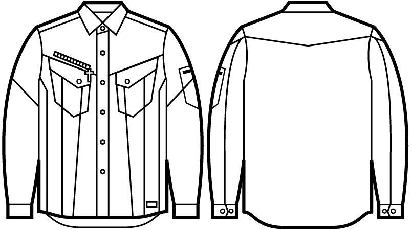 52404 自重堂JAWIN 長袖シャツ(新庄モデル) ハンガーイラスト・線画