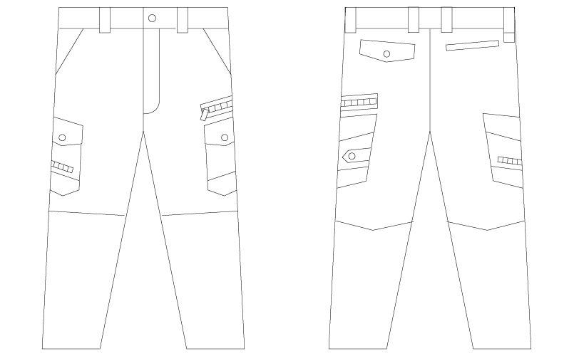 56002 自重堂JAWIN [春夏用]ノータックカーゴパンツ(新庄モデル) 裾上げNG ハンガーイラスト・線画